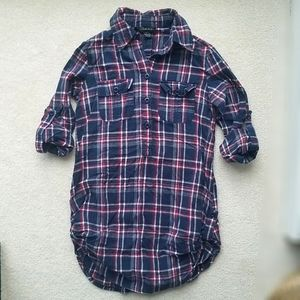 Flannel Tunic Shirt Dress Blue Red White Checked